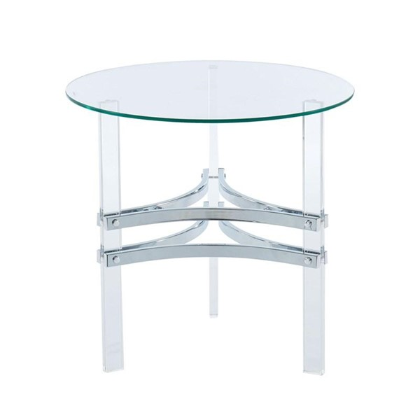 Furniture of America Tirso Chrome Round End Table FOA-CM4350E