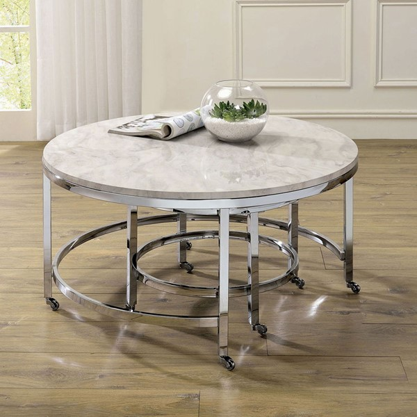 Furniture of America Shauna White Chrome Coffee Table FOA-CM4354C