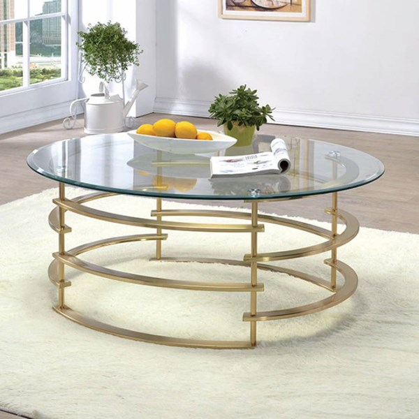 Clonmel Contemporary Gold Metal Gl Coffee Table