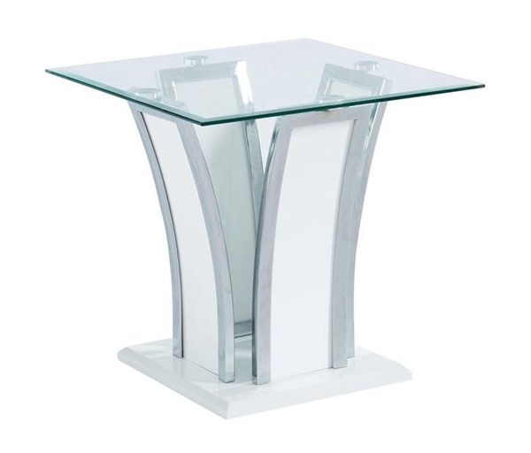 Furniture of America Staten Glossy White End Table FOA-CM4372WH-E-PK