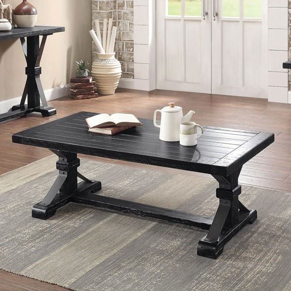 Furniture Of America Enderlin Antique Black Coffee Table FOA-CM4395C