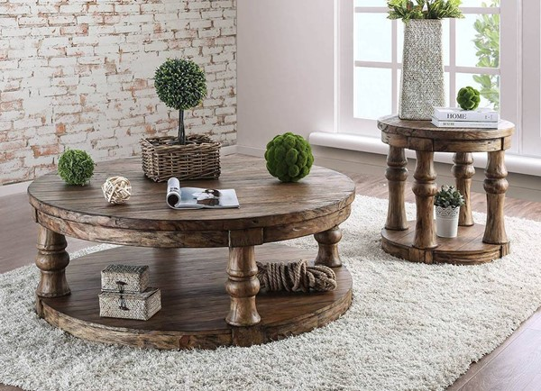 Furniture of America Mika Antique Oak 3pc Coffee Table Set FOA-CM4424A-OCT-S1