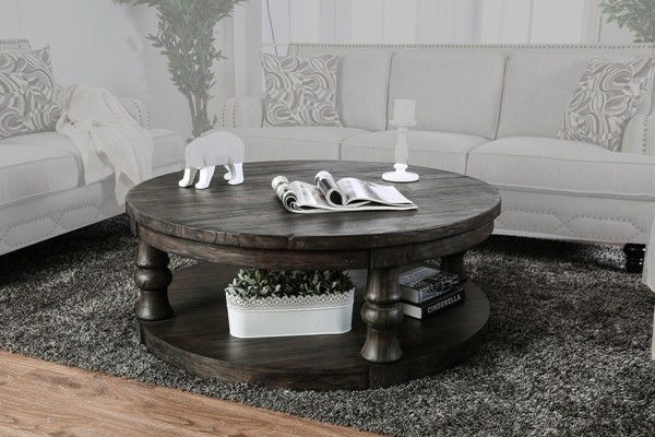 Furniture of America Mika Antique Gray Coffee Table FOA-CM4424GY-C