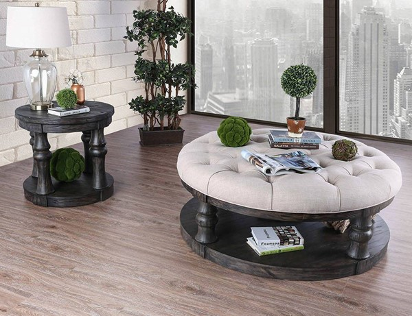 Furniture of America Mika Beige Antique Gray 3pc Coffee Table Set FOA-CM4424GY-F-OCT-S2