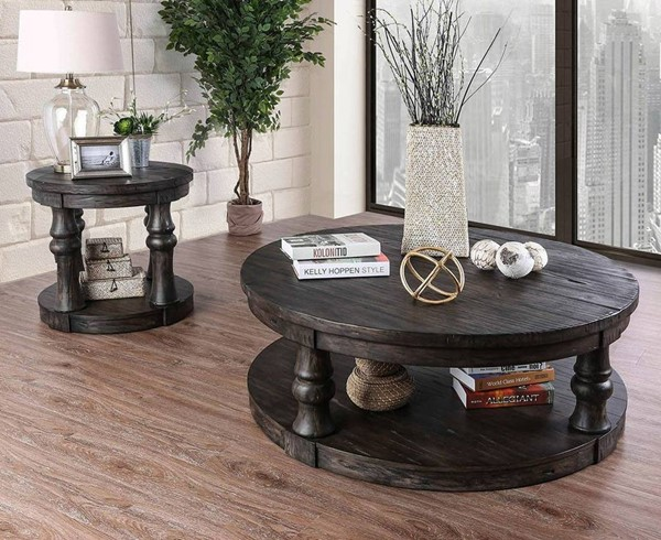 Furniture of America Mika Antique Gray 3pc Coffee Table Set FOA-CM4424GY-OCT-S1