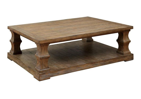 Furniture of America Granard Wooden Top Coffee Table FOA-CM4457C-PK