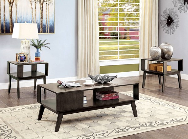 Furniture of America Vilgot Warm Gray 3pc Coffee Table Set FOA-CM4493-3PK
