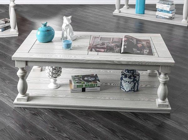 Furniture of America Arlington Antique White Coffee Table FOA-CM4520C