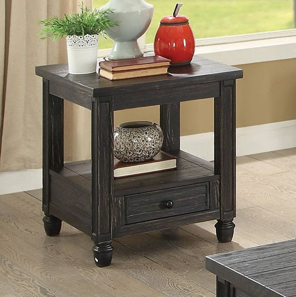 Furniture of America Suzette Antique Black End Table FOA-CM4615BK-E