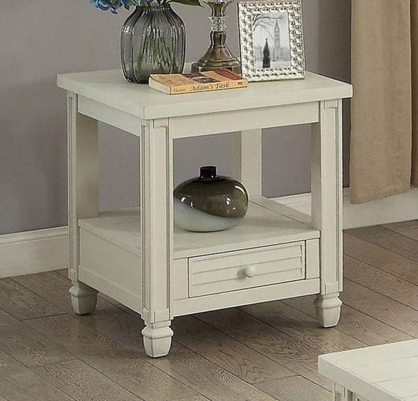Furniture of America Suzette Antique White End Table FOA-CM4615WH-E