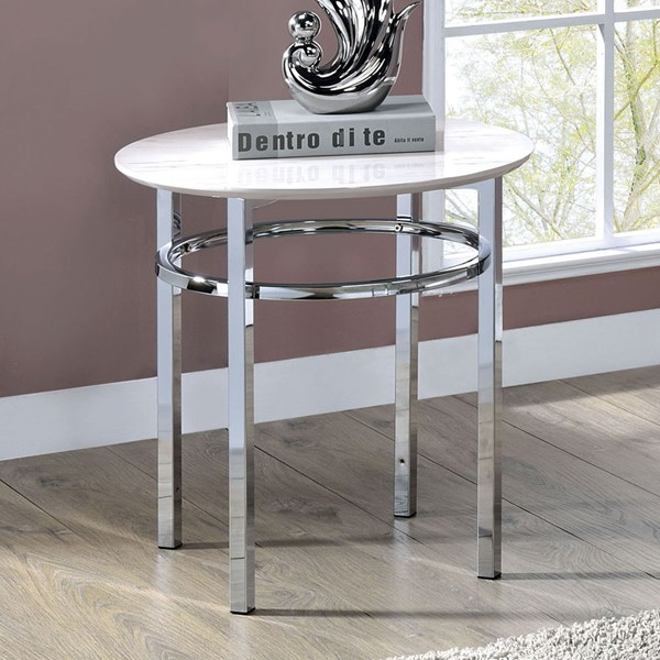 Furniture of America Mariah White Chrome Round End Table FOA-CM4797E