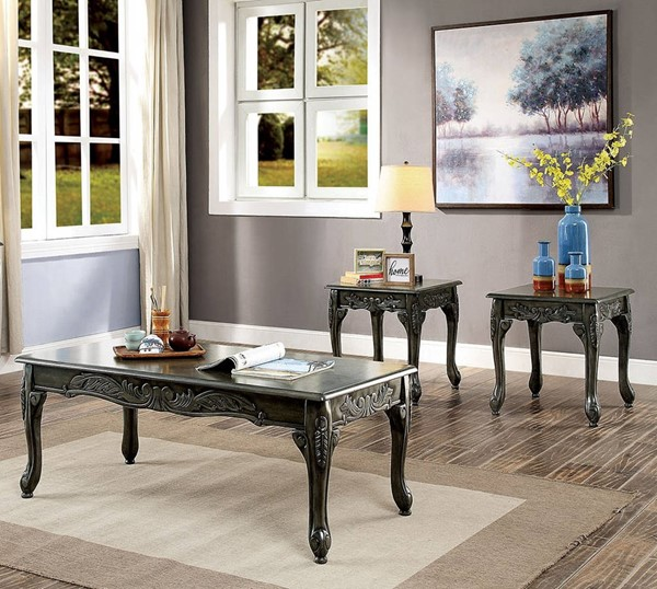 Furniture of America Cheshire Gray 3pc Coffee Table Set FOA-CM4914GY-3PK