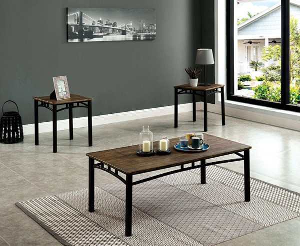 Furniture of America Potlatch Antique Brown 3pc Coffee Table Set FOA-CM4921-3PK