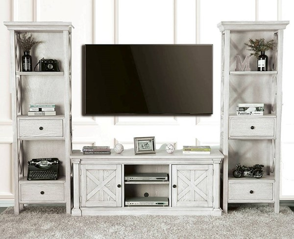 Furniture Of America Georgia Antique White Entertainment Center With 60 Inch Tv Stand The