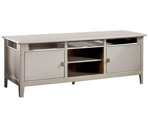 Furniture of America Xaviera Silver TV Stand with 5mm Beveled Antique Mirror FOA-CM5202-TV
