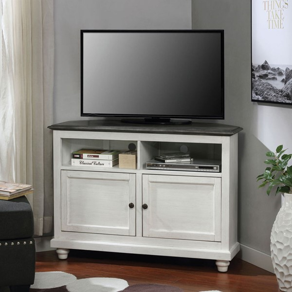 Furniture Of America Palu White Antique Gray TV Stand FOA-CM5677GY-TV