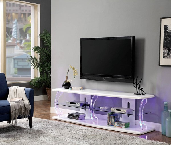 Furniture of America Ernst White 60 Inch TV Stand FOA-CM5901WH-TV-60