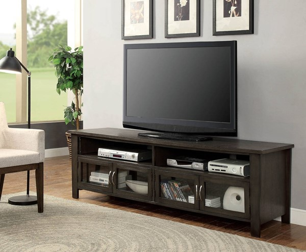 Furniture of America Alma Gray 72 TV Stand FOA-CM5903-TV-72