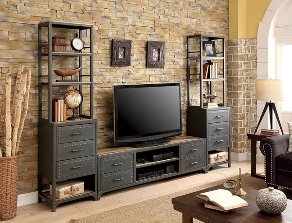 Furniture of America Galway Sand Black Entertainment Center with 62 Inch TV Stand FOA-CM5904-62-ENT-S1