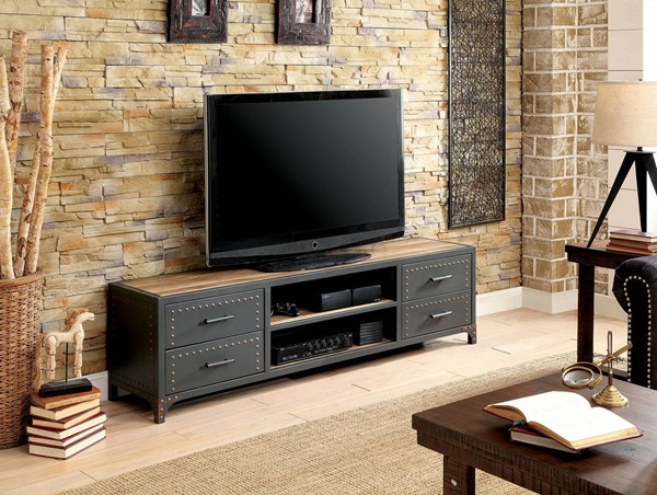 Furniture of America Galway Sand Black 60 Inch TV Stand FOA-CM5904-TV-62