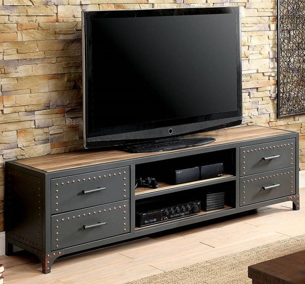 Furniture of America Galway Sand Black Natural Tone 60 Inch TV Stand FOA-CM5904-TV-62