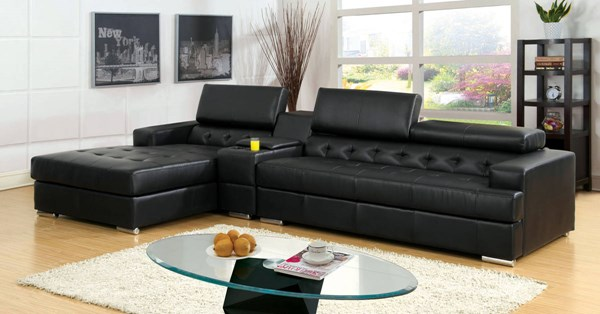 Furniture of America Floria Black Sectional with Console Table FOA-CM6122BK-PK-CT