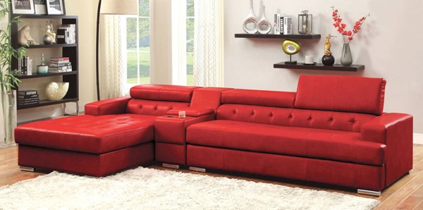Furniture of America Floria Red Sectional with Console Table FOA-CM6122RD-PK-CT