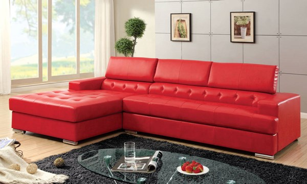 Furniture of America Floria Red Sectional FOA-CM6122RD-PK