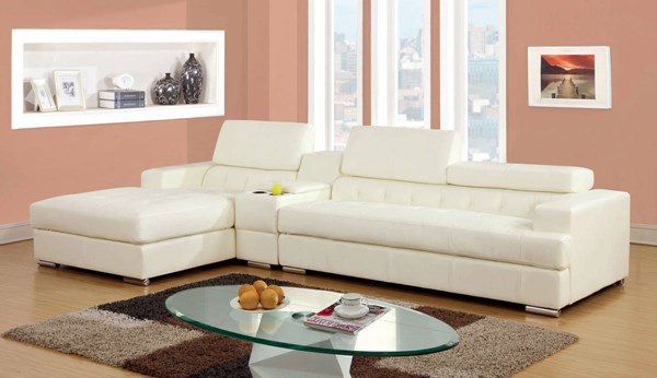 Furniture of America Floria White Sectional with Console Table FOA-CM6122WH-PK-CT