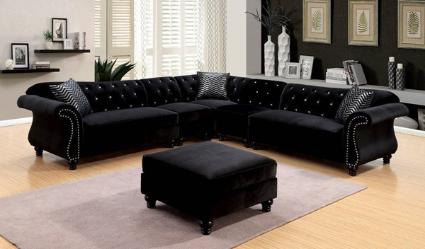 Furniture of America Jolanda II Black Sectionals with 2 chair and Ottoman FOA-CM6158-OT-SET-2CH-VAR