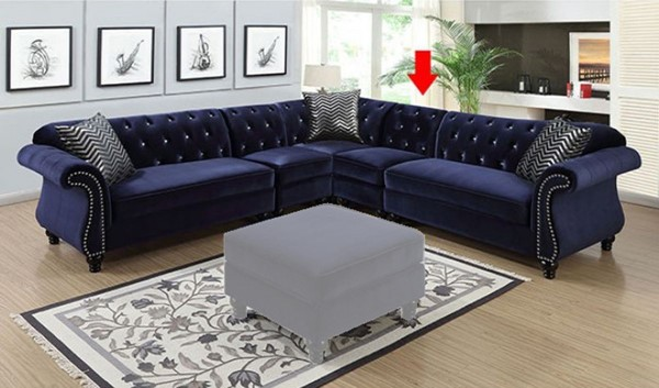 Furniture Of America Jolanda II Blue Sectional With Right Chair FOA-CM6158BL-SET-1CHR