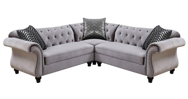 Furniture of America Jolanda II Gray Sectional FOA-CM6158GY-SET