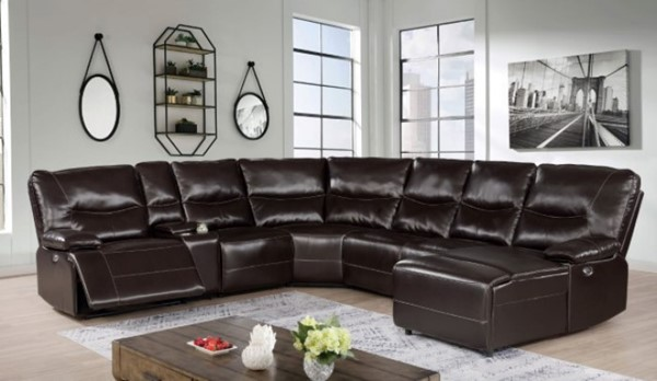 Furniture of America Alayna Dark Brown Power Sectional FOA-CM6229DK-SECT