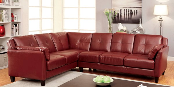 Furniture of America Peever Mahogany Red Sectional FOA-CM6268RD-SET