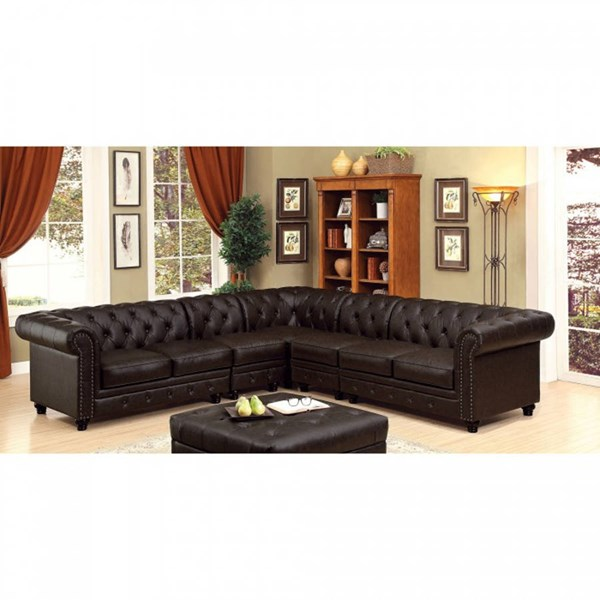 Furniture of America Stanford II Sectional with 2 Armless Chairs FOA-CM6270BR-SET-2CH