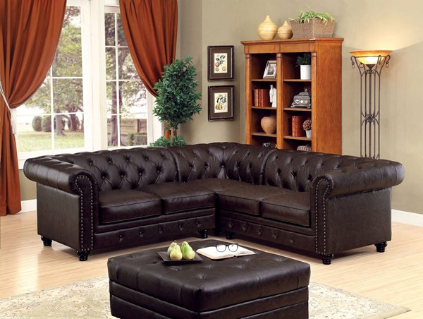 Furniture of America Stanford II Leatherette Sectional FOA-CM6270BR-SET