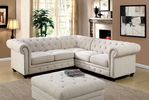Furniture of America Stanford II Ivory Sectional FOA-CM6270IV-SET