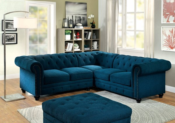 Furniture of America Stanford II Teal Sectional FOA-CM6270TL-SET