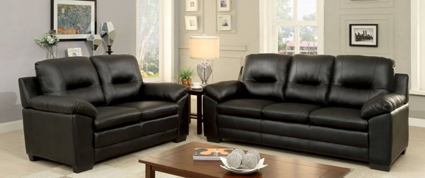 Furniture of America Parma Black 3pc Living Room Set FOA-CM6324BK-3PC