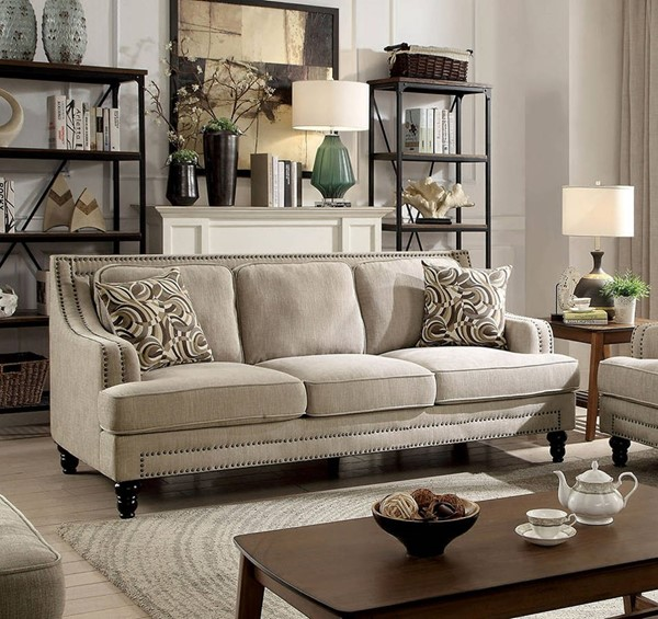Furniture of America Everly Beige Sofa FOA-CM6362-SF
