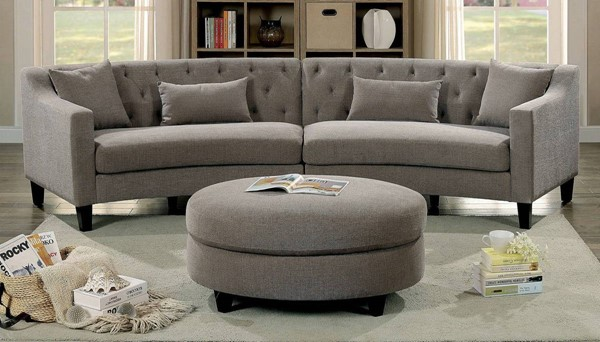 Furniture of America Sarin Warm Gray Sectional with Ottoman FOA-CM6370-SECTIONAL-OT