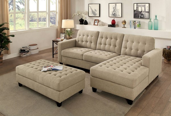 Furniture of America Norma Sectional with Ottoman FOA-CM6440-SET