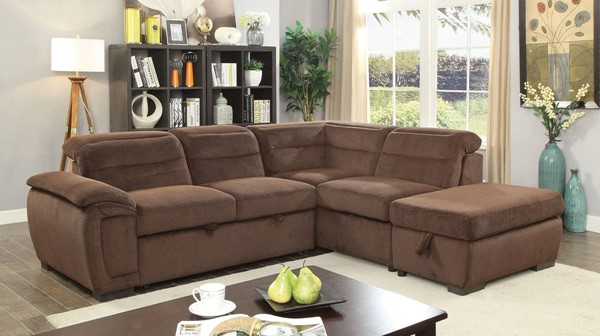 Furniture of America Felicity Brown Sectional with Storage Ottoman FOA-CM6521BR-SECT