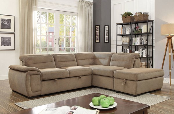 Furniture of America Felicity Mocha Sectional with Storage Ottoman FOA-CM6521MC-SECT