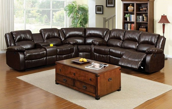 Furniture Of America Winslow Sectional with Center Console FOA-CM6556-SECTIONAL-CT