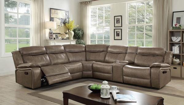 Furniture of America Page Gray Sectional with 2 Armless Chairs FOA-CM6566-SECT-2AC