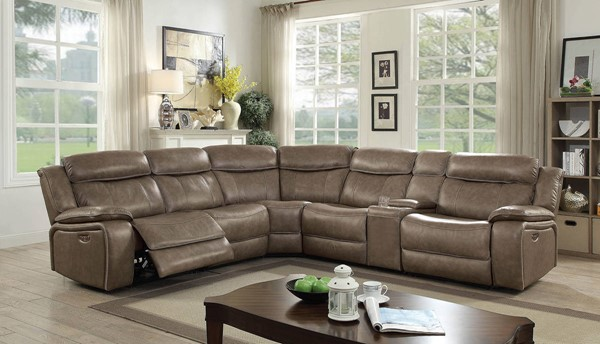 Furniture of America Page Gray Power Sectional with 2 Armless Chairs FOA-CM6566-PM-SECT-2AC