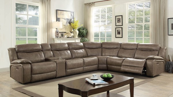 Furniture of America Page Gray Power Sectional with 3 Armless Chairs FOA-CM6566-PM-SECT-3AC