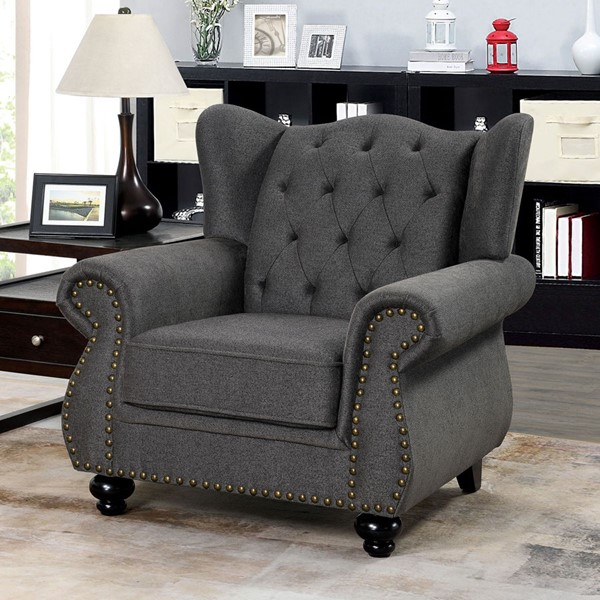 Furniture Of America Ewloe Dark Gray Chair FOA-CM6572DG-CH