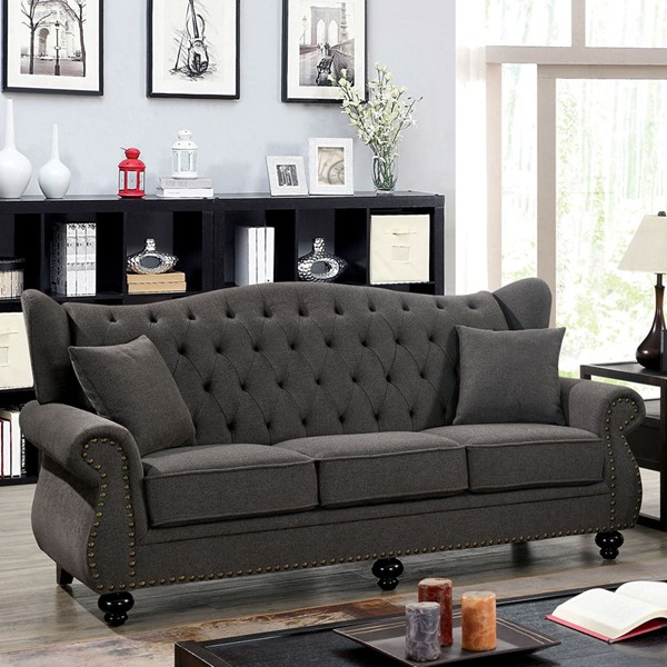 Furniture Of America Ewloe Dark Gray Sofa FOA-CM6572DG-SF